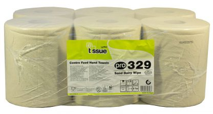 PRO 3 Ply Sand Dairy Wipe Centrefeed Roll