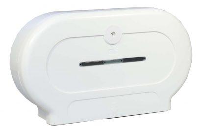 Twin Mini Jumbo Toilet Roll Dispenser in White Plastic