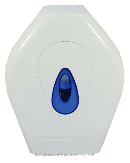 Mini Jumbo Toilet Roll Dispenser in White Plastic
