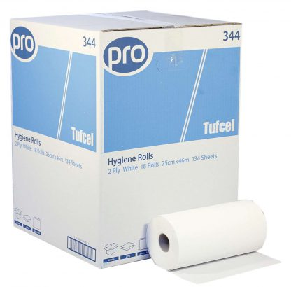 Hygiene Roll 2 Ply White Pure Pulp 25cmx 46m 134 sheets per roll